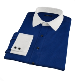 Blue and Black Diamond Pindot Custom Dress Shirt