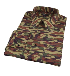 Fatigue Camouflage Print Fitted Shirt