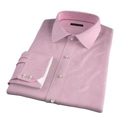 Thomas Mason Red Small Grid Fitted Dress Shirt