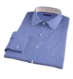 Melrose 120s Royal Blue Mini Gingham Custom Made Shirt