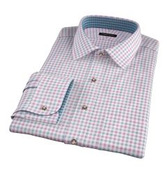 Thomas Mason Scarlet and Pine Multi Check Fitted Dress Shirt