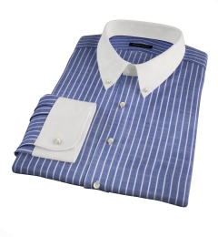Albini Marine Stripe Oxford Chambray Fitted Shirt