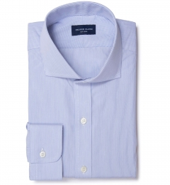 Thomas Mason Blue Fine Stripe Custom Made Shirt