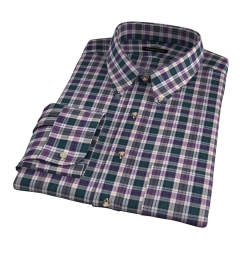 Vincent Pine and Violet Plaid Men's Dress Shirt