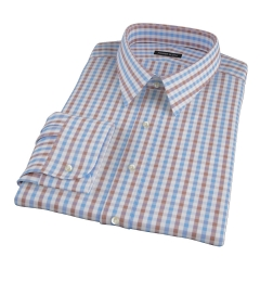 Thomas Mason Brown Multi Gingham Fitted Shirt