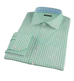 Medium Light Green Gingham Men's Dress Shirt