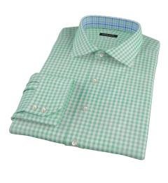 Medium Light Green Gingham Men's Dress Shirt