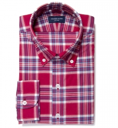Warren Red Large Plaid Fitted Dress Shirt
