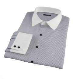 Carmine Black Pencil Stripe Fitted Shirt