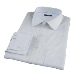 Thomas Mason Light Blue Small Grid Men's Dress Shirt