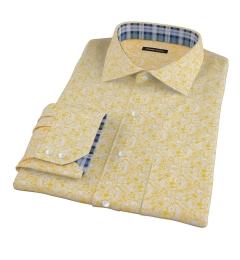 Canclini Orange Yellow Paisley Print Custom Dress Shirt