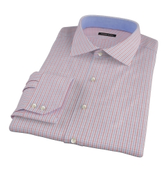 Red Davis Check Fitted Dress Shirt