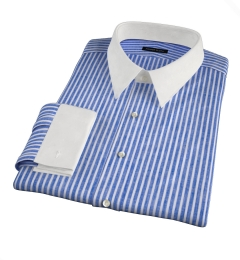 Blue Cotton Linen Stripe Fitted Shirt