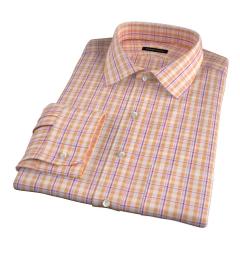 Canclini Orange San Sebastian Plaid Dress Shirt