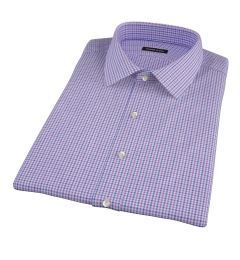 Canclini Purple and Blue Multi Gingham Short Sleeve Shirt