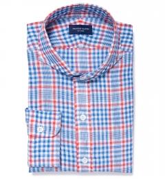 Canclini Orange Blue Plaid Linen Fitted Dress Shirt