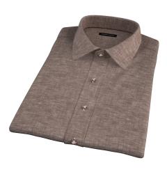 Canclini Brown Linen Short Sleeve Shirt
