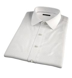 Navy on White Printed Pindot Short Sleeve Shirt
