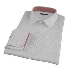 Tan and Blue Multi Stripe Fitted Dress Shirt