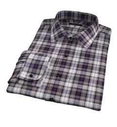 Jackson Brown and Navy Plaid Flannel Dress Shirt