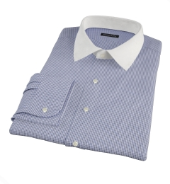 Carmine Navy Mini Check Fitted Dress Shirt