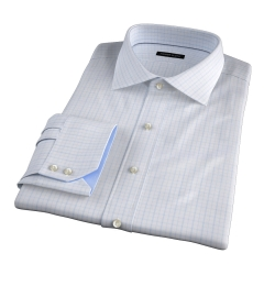 Verona Light Blue 100s Border Grid Tailor Made Shirt