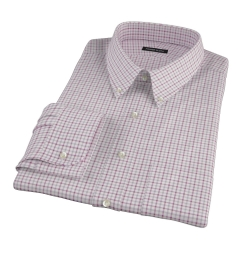 Canclini Red Grey Tattersall Flannel Custom Made Shirt