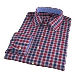 Vincent Crimson and Navy Plaid Custom Dress Shirt