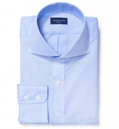 Morris Light Blue Wrinkle Resistant Glen Plaid Custom Dress Shirt