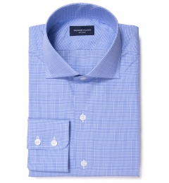 Carmine Light Blue Glen Plaid Men's Dress Shirt