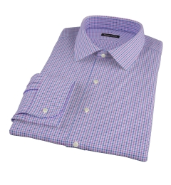 Canclini Purple Blue Gingham Fitted Dress Shirt
