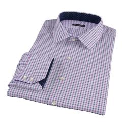 Purple and Navy Gingham Custom Dress Shirt