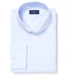 Canclini Light Blue Horizontal Fine Stripe Custom Made Shirt