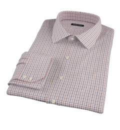 Canclini Brown Blue Tattersall Flannel Custom Dress Shirt