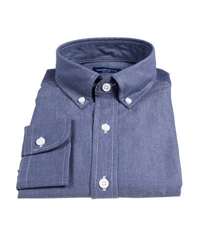 Navy Chambray Fitted Dress Shirt