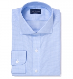 Morris Light Blue Wrinkle Resistant Glen Plaid Fitted Dress Shirt