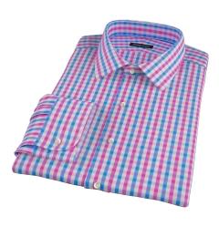 Pink and Blue Gingham Custom Dress Shirt