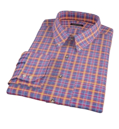 Yellow Blue Lewis Plaid Flannel Men's Dress Shirt