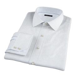 Light Blue 80s Striped Pinpoint Dress Shirt