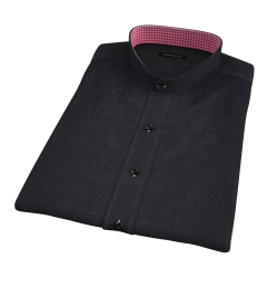 Japanese Black Slub Weave Short Sleeve Shirt