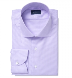 Thomas Mason Lavender Wrinkle-Resistant Houndstooth Men's Dress Shirt