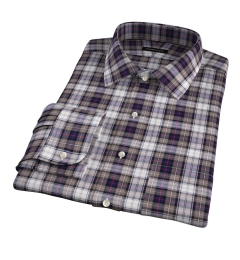 Jackson Brown and Navy Plaid Flannel Fitted Shirt