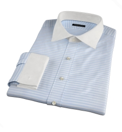 Canclini Light Blue Wide Horizontal Stripe Fitted Shirt