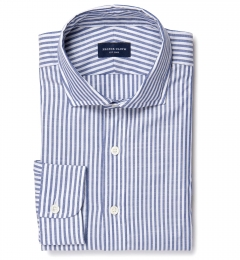 Albini Navy Stripe Oxford Chambray Dress Shirt