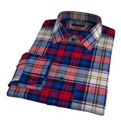 Red and Blue Plaid Country Flannel Dress Shirt