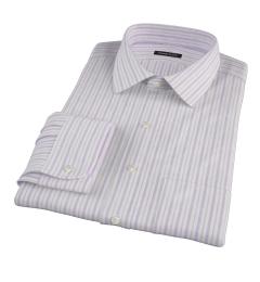 Canclini 120s Lavender Brown Stripe Dress Shirt