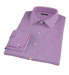 Red and Blue Gingham Men's Dress Shirt