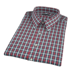 Red and Blue Block Plaid Short Sleeve Shirt