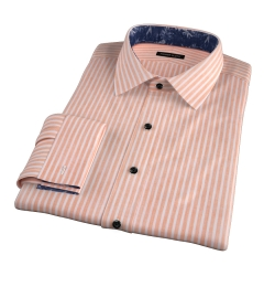 Orange Cotton Linen Stripe Custom Made Shirt