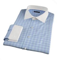 Alassio Aqua End on End Check Dress Shirt